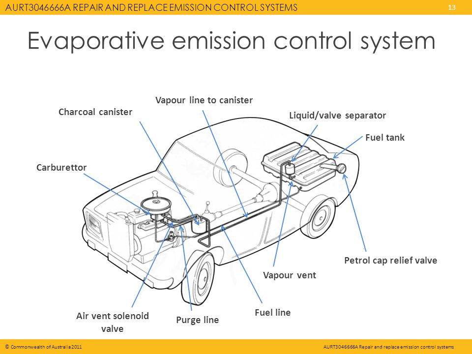 AURT A REPAIR AND REPLACE EMISSION CONTROL SYSTEMS 13 © Commonwealth of Australia 2011AURT A Repair and replace emission control systems Evaporative emission control system Carburettor Charcoal canister Vapour line to canister Liquid/valve separator Fuel tank Petrol cap relief valve Vapour vent Fuel line Purge line Air vent solenoid valve