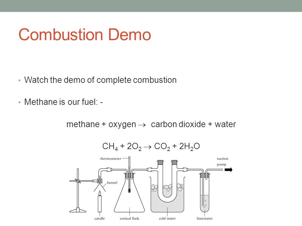 Combustion Demo Watch the demo of complete combustion Methane is our fuel: - methane + oxygen  carbon dioxide + water CH 4 + 2O 2  CO 2 + 2H 2 O
