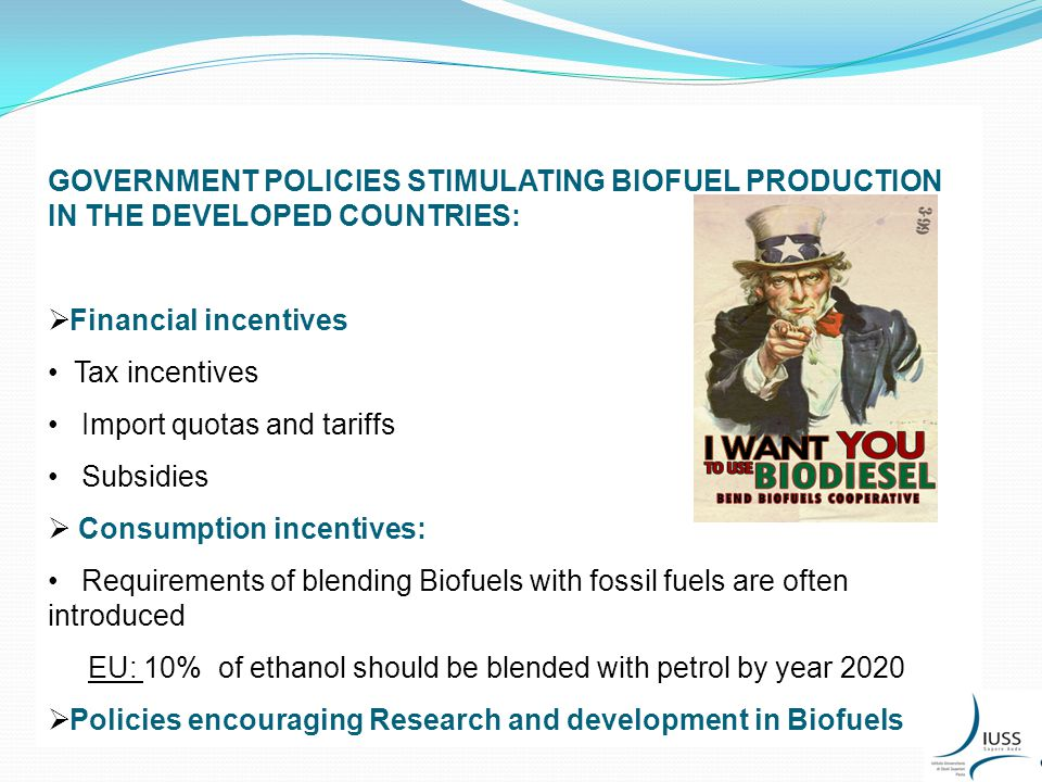 GOVERNMENT POLICIES STIMULATING BIOFUEL PRODUCTION IN THE DEVELOPED COUNTRIES:  Financial incentives Tax incentives Import quotas and tariffs Subsidies  Consumption incentives: Requirements of blending Biofuels with fossil fuels are often introduced EU: 10% of ethanol should be blended with petrol by year 2020  Policies encouraging Research and development in Biofuels