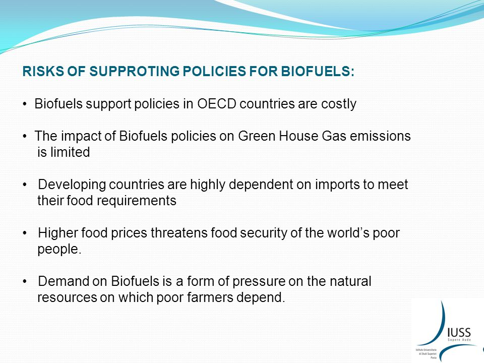 RISKS OF SUPPROTING POLICIES FOR BIOFUELS: Biofuels support policies in OECD countries are costly The impact of Biofuels policies on Green House Gas emissions is limited Developing countries are highly dependent on imports to meet their food requirements Higher food prices threatens food security of the world's poor people.
