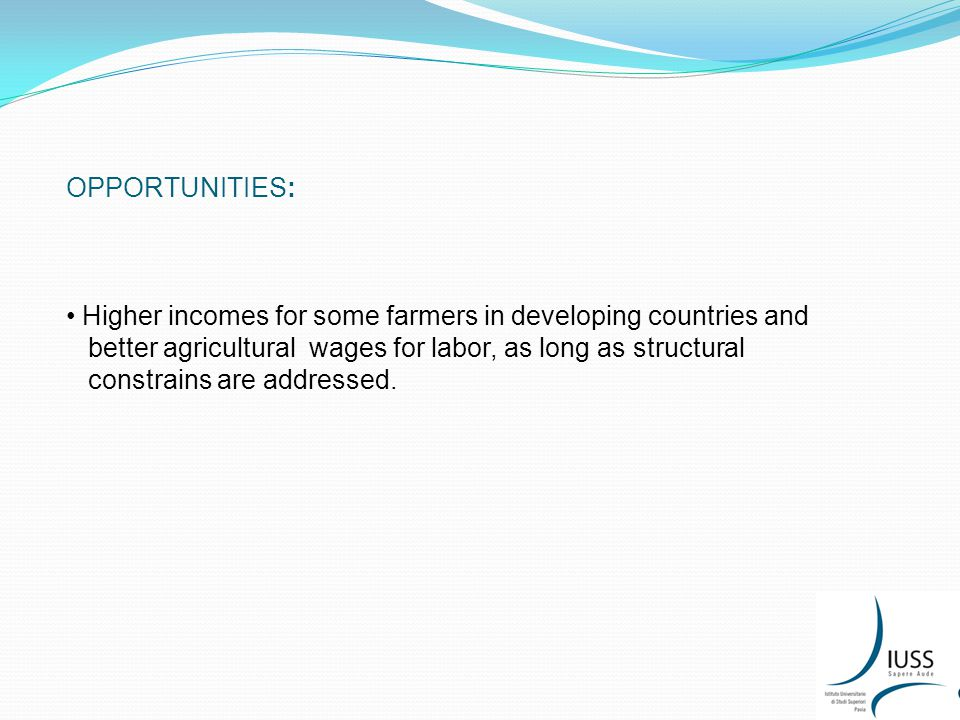 OPPORTUNITIES: Higher incomes for some farmers in developing countries and better agricultural wages for labor, as long as structural constrains are addressed.