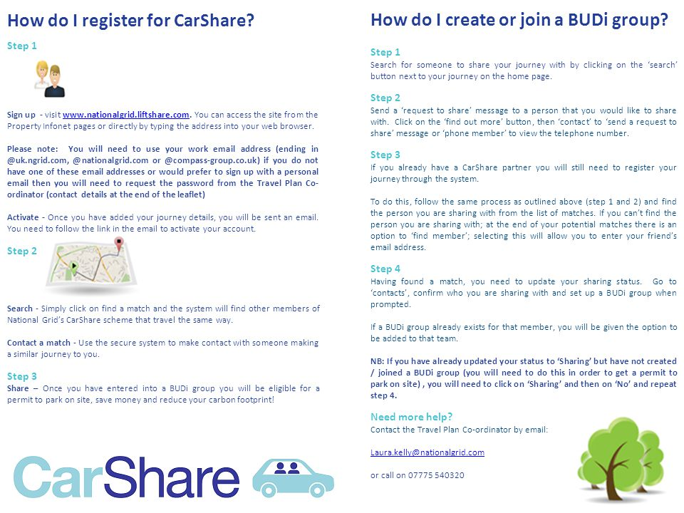 How do I register for CarShare. Step 1 Sign up - visit