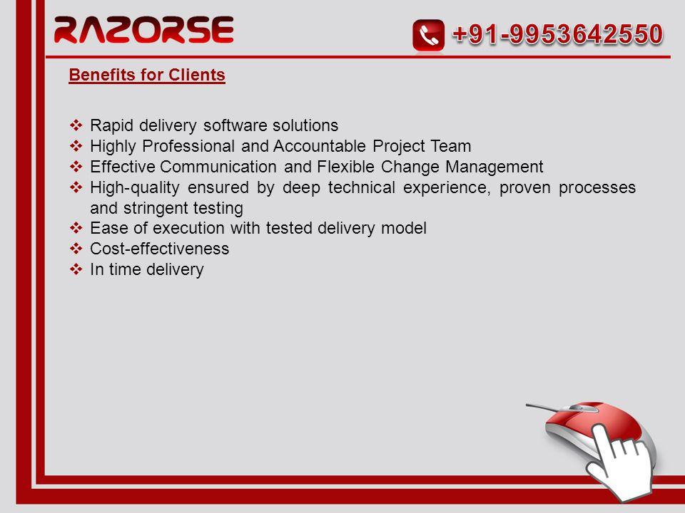  Project Scoping  Business & System requirement analysis  High level Design  Coding/Development of the application  System/Business acceptance/user acceptance testing  Implementation Range of Services for Application Development