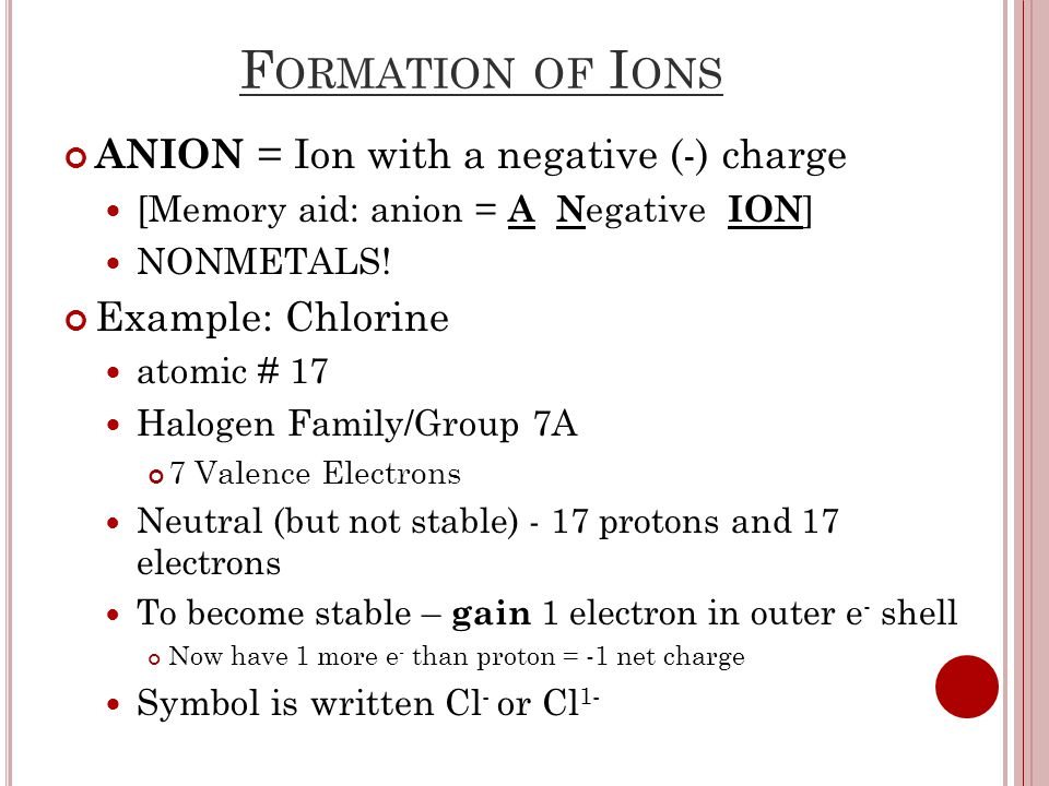 F ORMATION OF I ONS ANION = Ion with a negative (-) charge [Memory aid: anion = A N egative ION ] NONMETALS.