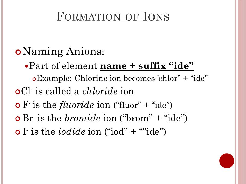 F ORMATION OF I ONS Naming Anions : Part of element name + suffix ide Example: Chlorine ion becomes chlor + ide Cl - is called a chloride ion F - is the fluoride ion ( fluor + ide ) Br - is the bromide ion ( brom + ide ) I - is the iodide ion ( iod + ide )