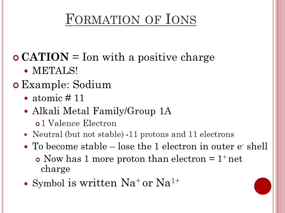 F ORMATION OF I ONS CATION = Ion with a positive charge METALS.