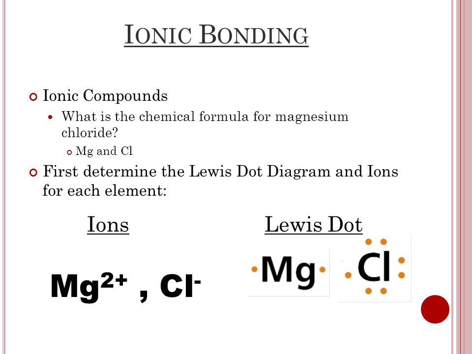 I ONIC B ONDING Ionic Compounds What is the chemical formula for magnesium chloride.