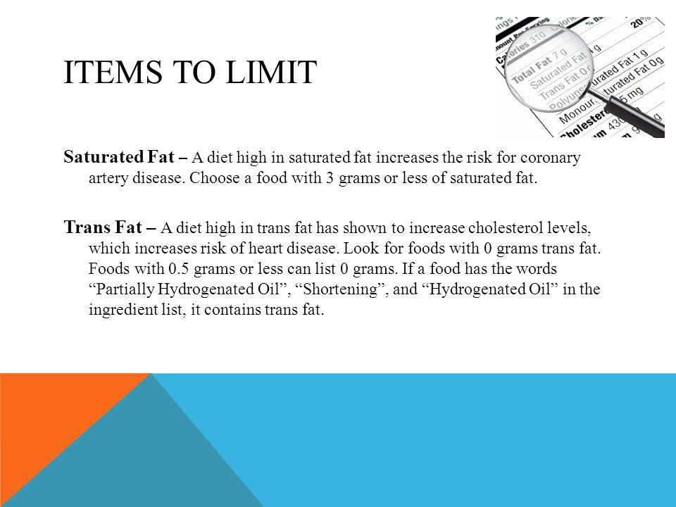 ITEMS TO LIMIT Saturated Fat – A diet high in saturated fat increases the risk for coronary artery disease.