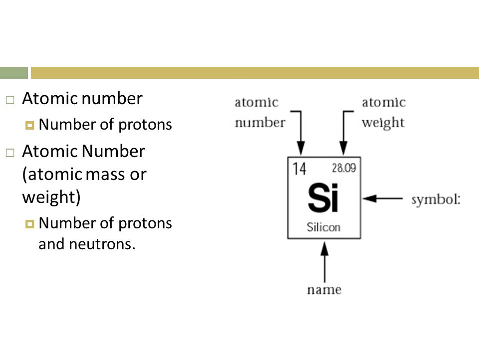  Atomic number  Number of protons  Atomic Number (atomic mass or weight)  Number of protons and neutrons.