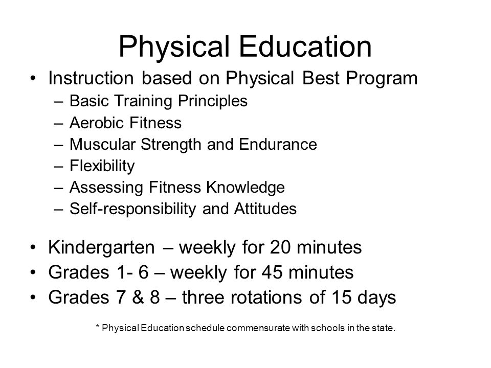 Physical Education Instruction based on Physical Best Program –Basic Training Principles –Aerobic Fitness –Muscular Strength and Endurance –Flexibility –Assessing Fitness Knowledge –Self-responsibility and Attitudes Kindergarten – weekly for 20 minutes Grades 1- 6 – weekly for 45 minutes Grades 7 & 8 – three rotations of 15 days * Physical Education schedule commensurate with schools in the state.
