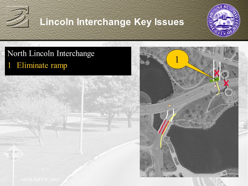 JANUARY 9, 2002 North Lincoln Interchange 1Eliminate ramp Lincoln Interchange Key Issues 1