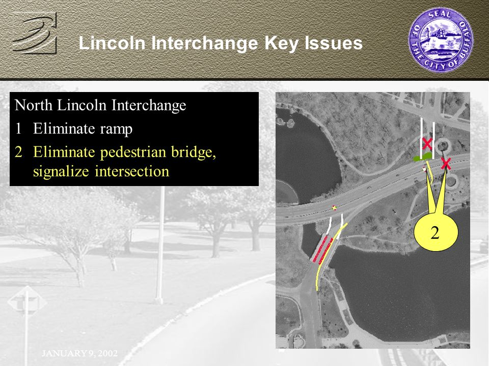 JANUARY 9, 2002 North Lincoln Interchange 1Eliminate ramp North Lincoln Interchange 1Eliminate ramp 2Eliminate pedestrian bridge, signalize intersection Lincoln Interchange Key Issues 2 2