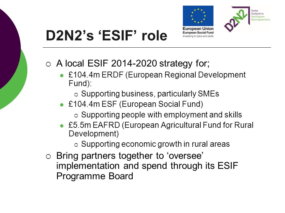 D2N2's 'ESIF' role  A local ESIF strategy for ; £104.4m ERDF (European Regional Development Fund):  Supporting business, particularly SMEs £104.4m ESF (European Social Fund)  Supporting people with employment and skills £5.5m EAFRD (European Agricultural Fund for Rural Development)  Supporting economic growth in rural areas  Bring partners together to 'oversee' implementation and spend through its ESIF Programme Board