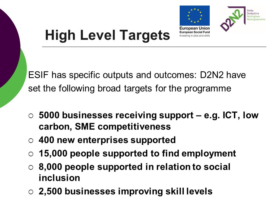 High Level Targets ESIF has specific outputs and outcomes: D2N2 have set the following broad targets for the programme  5000 businesses receiving support – e.g.