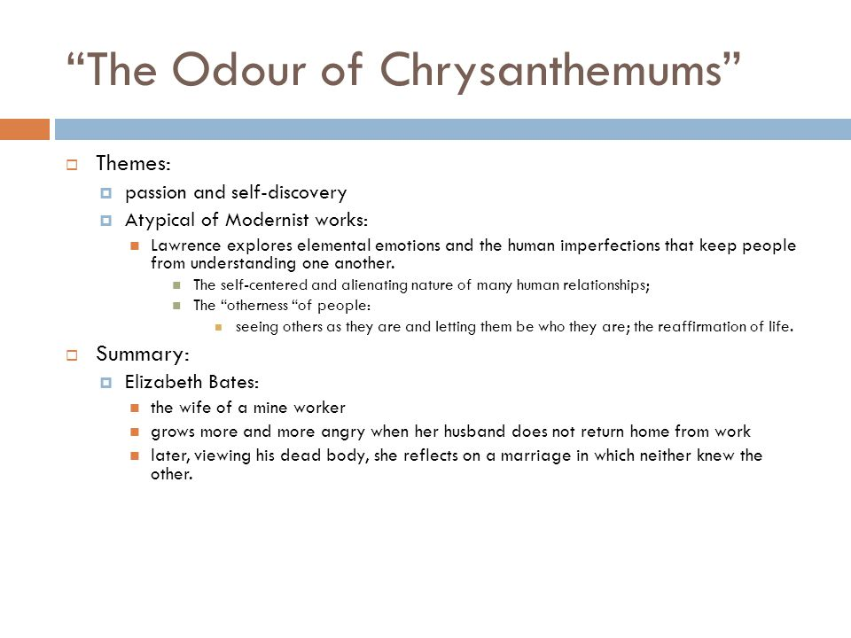 odour of chrysanthemums themes