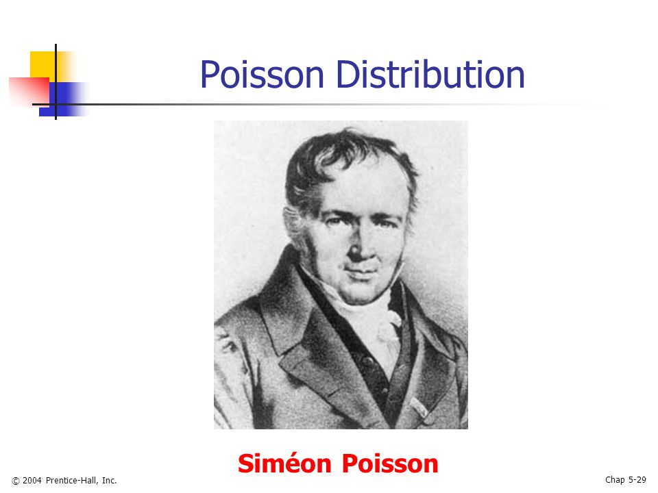 © 2004 Prentice-Hall, Inc. Chap 5-29 Poisson Distribution Siméon Poisson