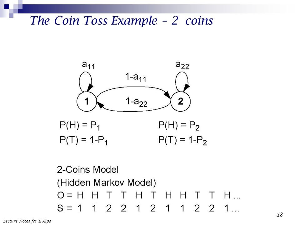 Lecture Notes for E Alpaydın 2004 Introduction to Machine Learning © The MIT Press (V1.1) 18 The Coin Toss Example – 2 coins