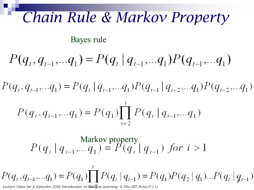 Lecture Notes for E Alpaydın 2004 Introduction to Machine Learning © The MIT Press (V1.1) 8 Chain Rule & Markov Property Bayes rule Markov property