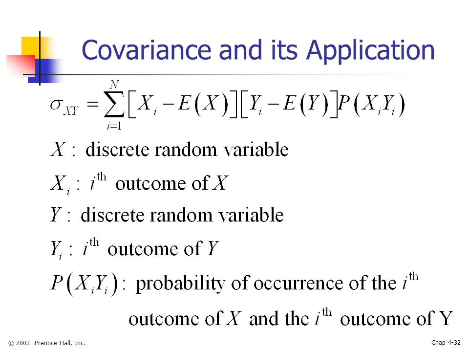 © 2002 Prentice-Hall, Inc. Chap 4-32 Covariance and its Application