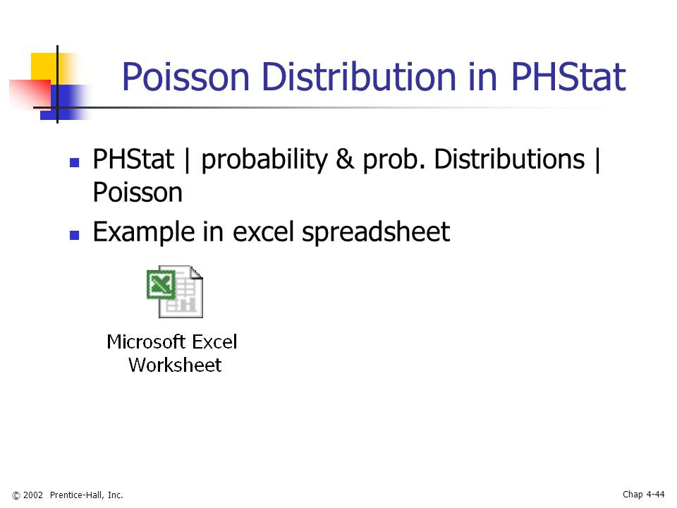 © 2002 Prentice-Hall, Inc. Chap 4-44 Poisson Distribution in PHStat PHStat | probability & prob.