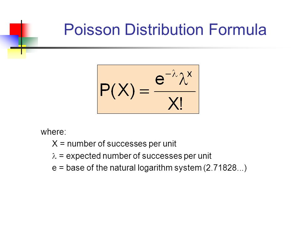 Poisson Distribution Formula where: X = number of successes per unit = expected number of successes per unit e = base of the natural logarithm system ( )