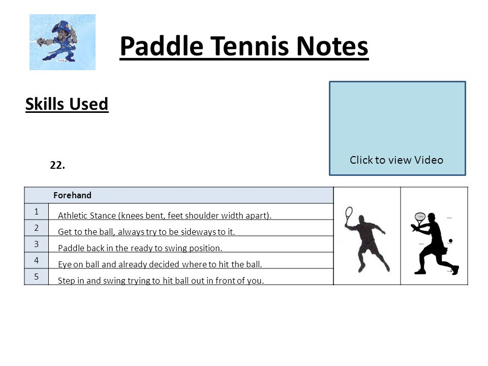 Paddle Tennis Notes Skills Used Forehand