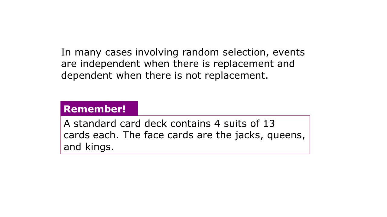 A standard card deck contains 4 suits of 13 cards each.