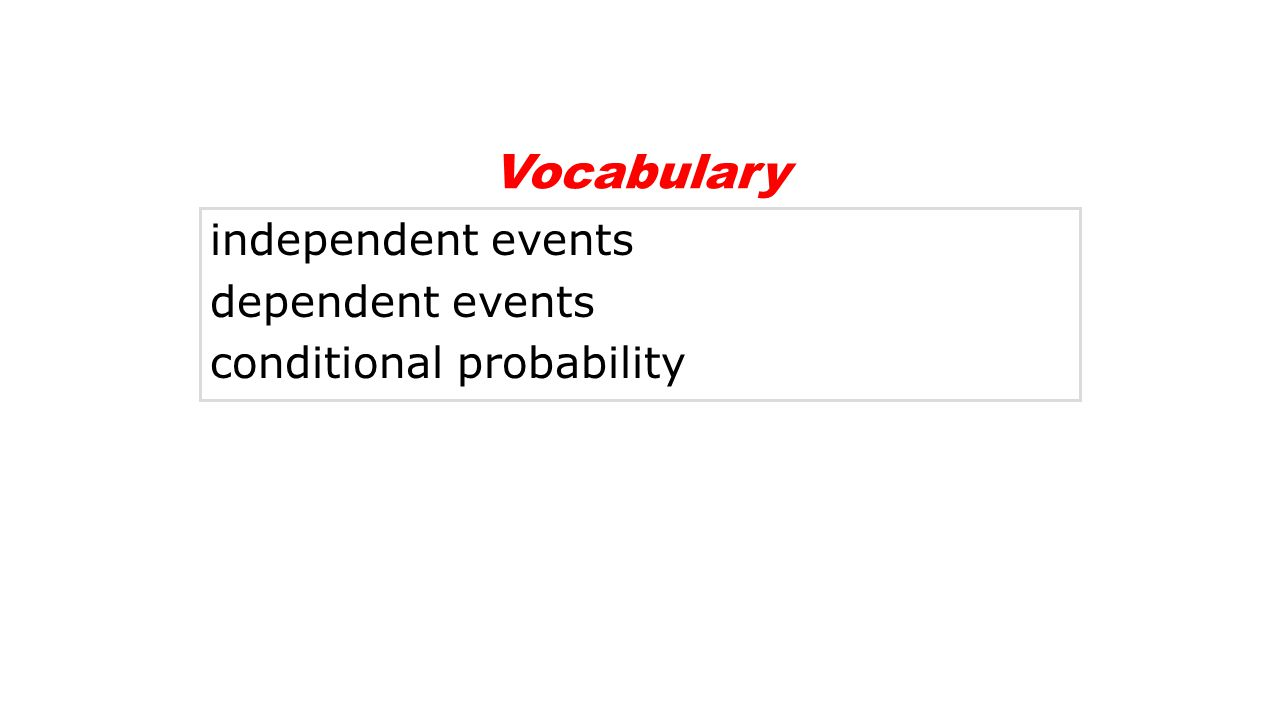 independent events dependent events conditional probability Vocabulary