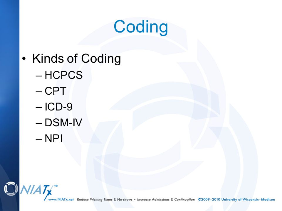 Coding Kinds of Coding –HCPCS –CPT –ICD-9 –DSM-IV –NPI