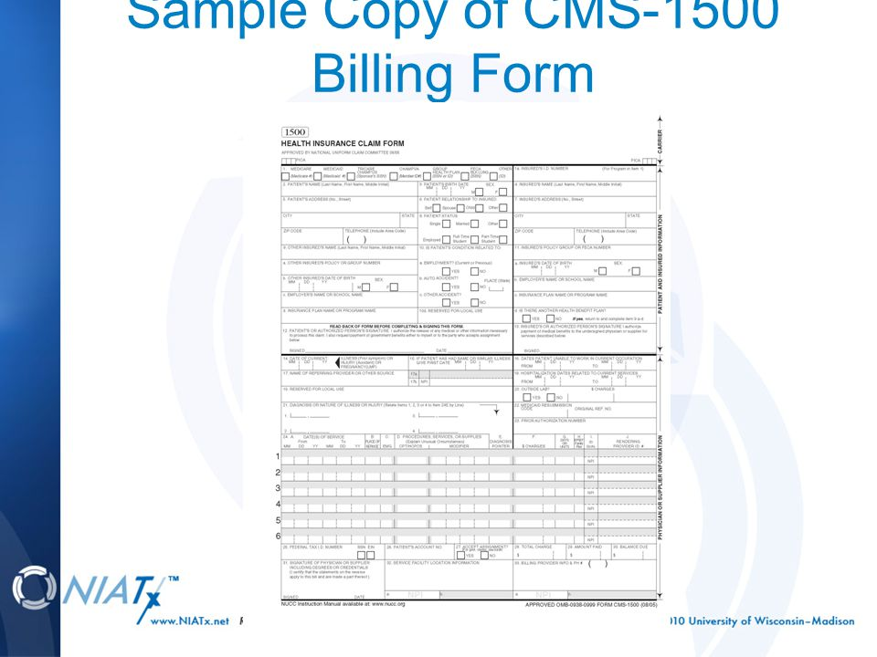 Sample Copy of CMS-1500 Billing Form