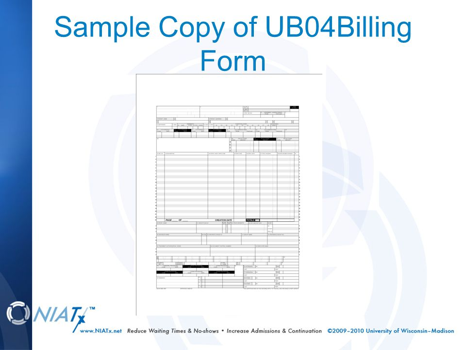 Sample Copy of UB04Billing Form