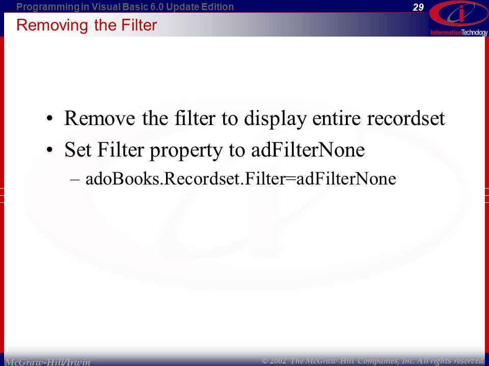 vb6 recordset filter property and property