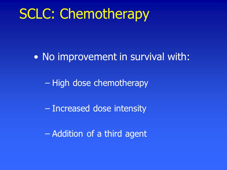 SCLC: Chemotherapy No improvement in survival with: –High dose chemotherapy –Increased dose intensity –Addition of a third agent