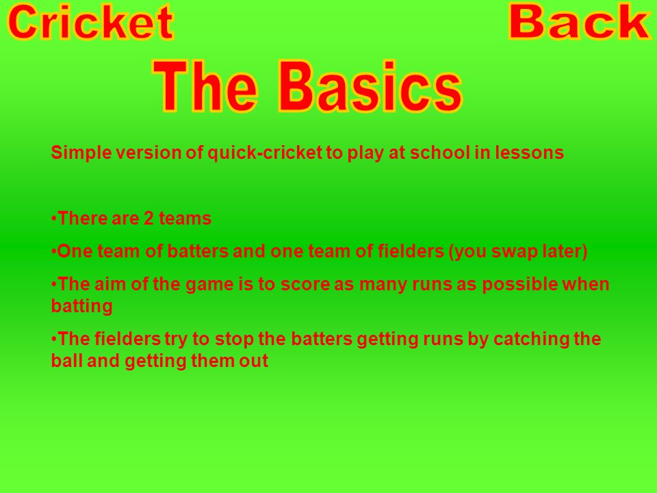 The Basics The Equipment Setting up the game How to play Diagram Extra's Watch the Game
