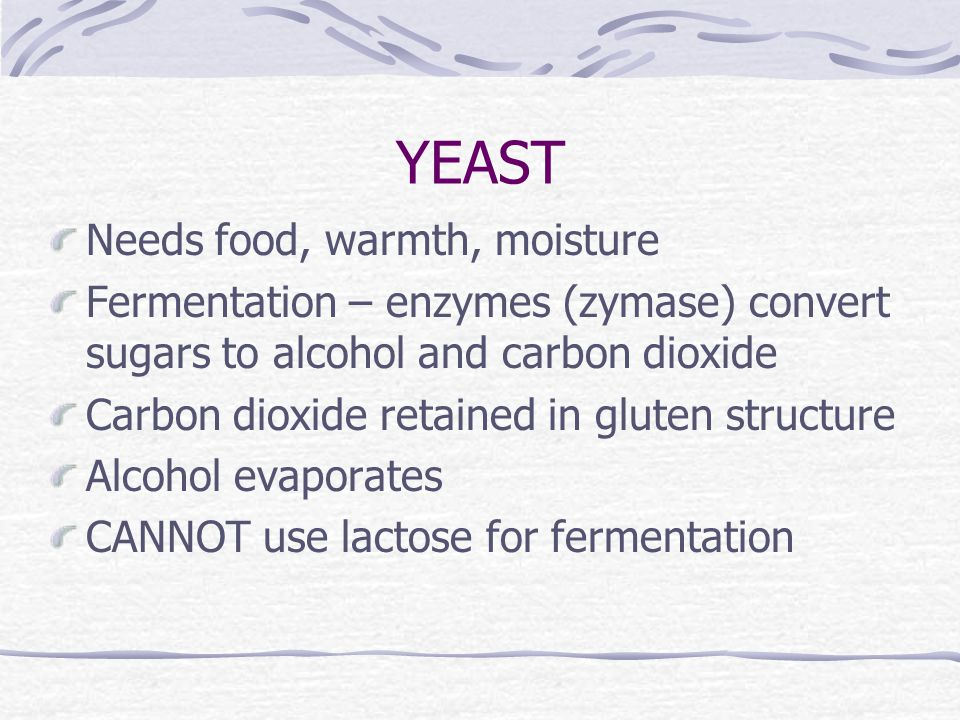 YEAST Needs food, warmth, moisture Fermentation – enzymes (zymase) convert sugars to alcohol and carbon dioxide Carbon dioxide retained in gluten structure Alcohol evaporates CANNOT use lactose for fermentation