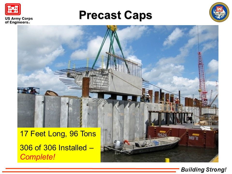 Building Strong! Precast Caps 17 Feet Long, 96 Tons 306 of 306 Installed – Complete!