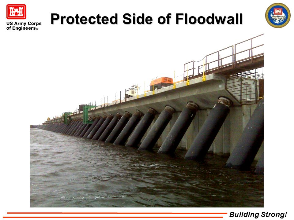 Building Strong! Protected Side of Floodwall