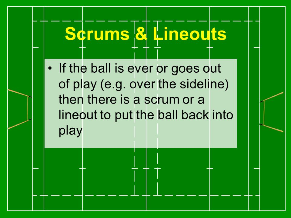 Scrums & Lineouts If the ball is ever or goes out of play (e.g.