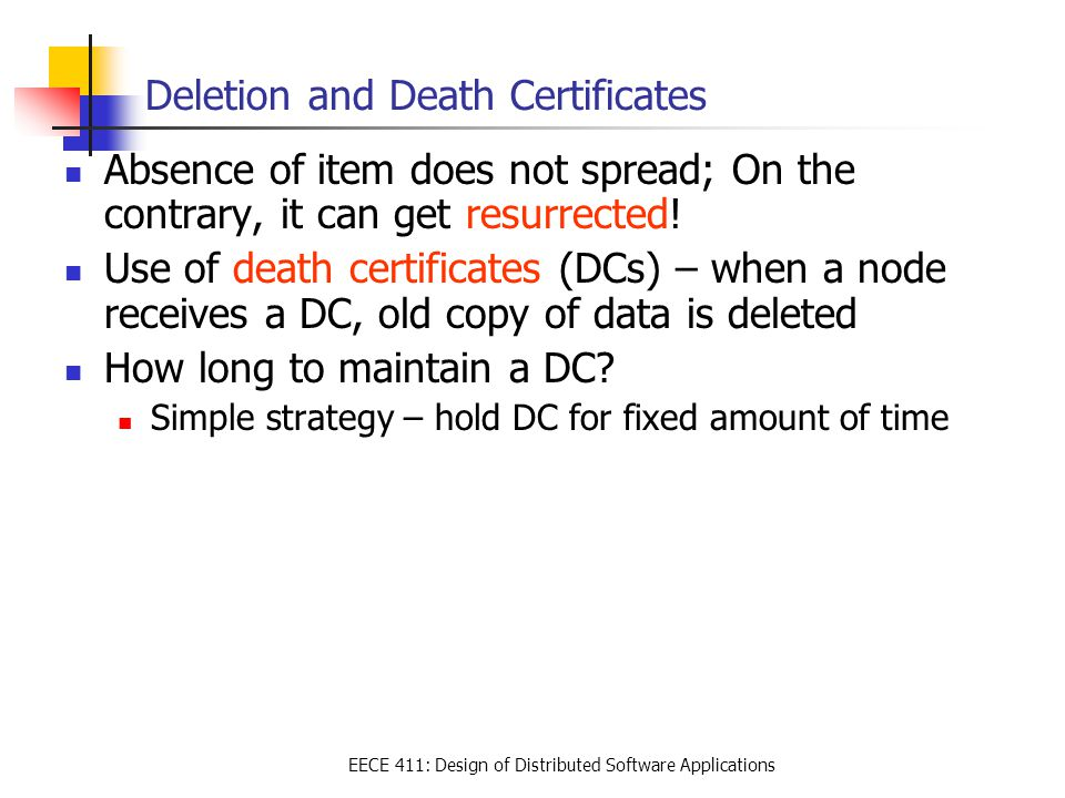 Lecture 7 Data Distribution Epidemic Protocols Eece 411 Design Of