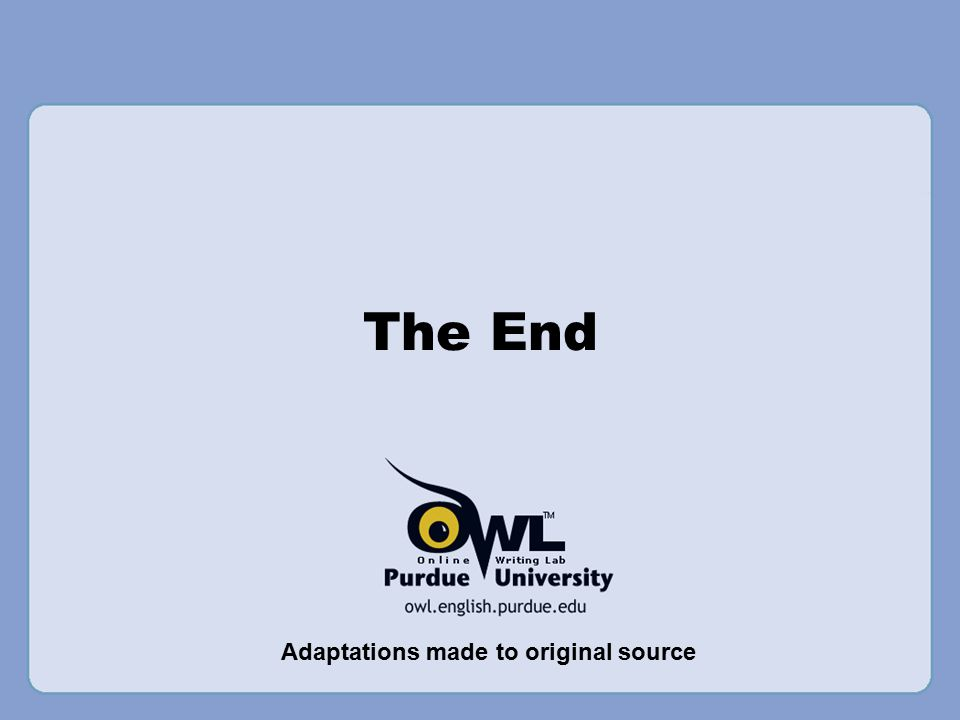 The End Adaptations made to original source