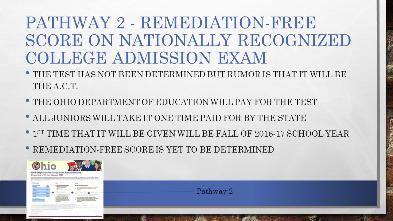 PATHWAY 2 - REMEDIATION-FREE SCORE ON NATIONALLY RECOGNIZED COLLEGE ADMISSION EXAM THE TEST HAS NOT BEEN DETERMINED BUT RUMOR IS THAT IT WILL BE THE A.C.T.