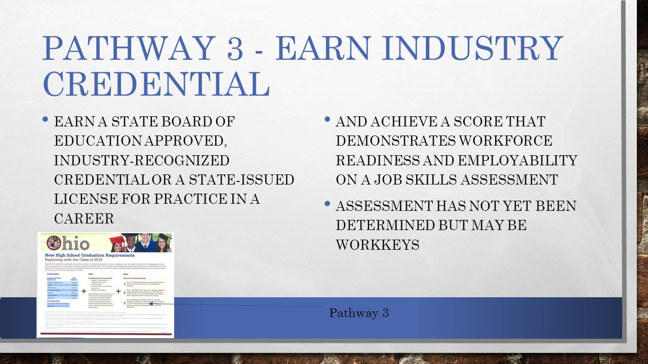 PATHWAY 3 - EARN INDUSTRY CREDENTIAL EARN A STATE BOARD OF EDUCATION APPROVED, INDUSTRY-RECOGNIZED CREDENTIAL OR A STATE-ISSUED LICENSE FOR PRACTICE IN A CAREER AND ACHIEVE A SCORE THAT DEMONSTRATES WORKFORCE READINESS AND EMPLOYABILITY ON A JOB SKILLS ASSESSMENT ASSESSMENT HAS NOT YET BEEN DETERMINED BUT MAY BE WORKKEYS Pathway 3
