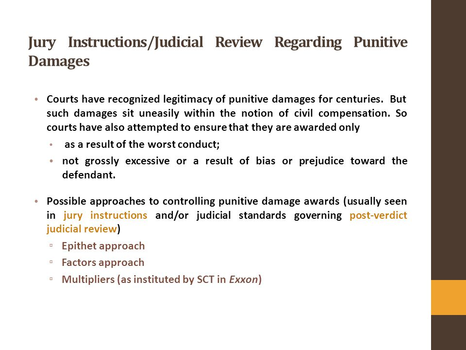 Goals Of Punitive Damages Punishment Notions Of Public Morality And
