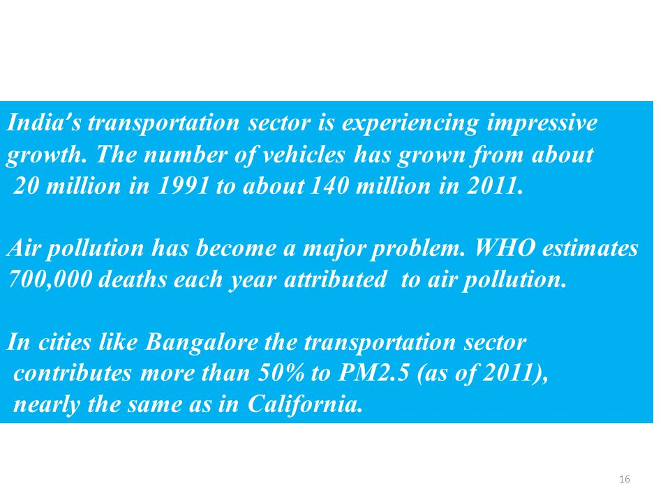 16 India's transportation sector is experiencing impressive growth.