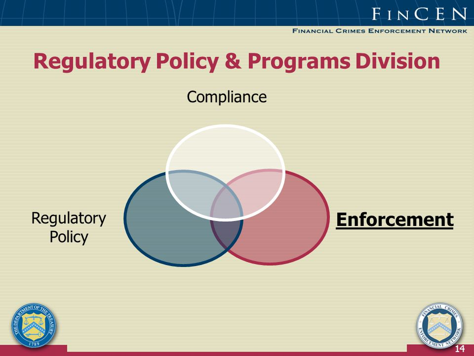 14 Regulatory Policy & Programs Division Compliance Regulatory Policy Enforcement