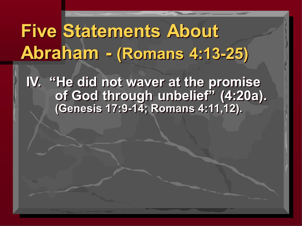 IV. He did not waver at the promise of God through unbelief (4:20a).