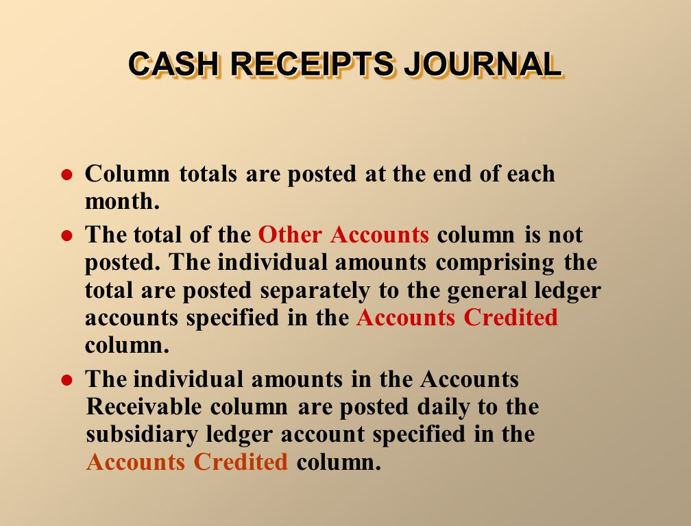 Column totals are posted at the end of each month.