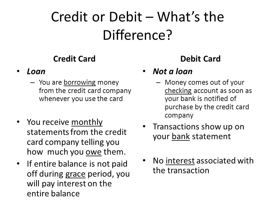Credit or Debit – What's the Difference.