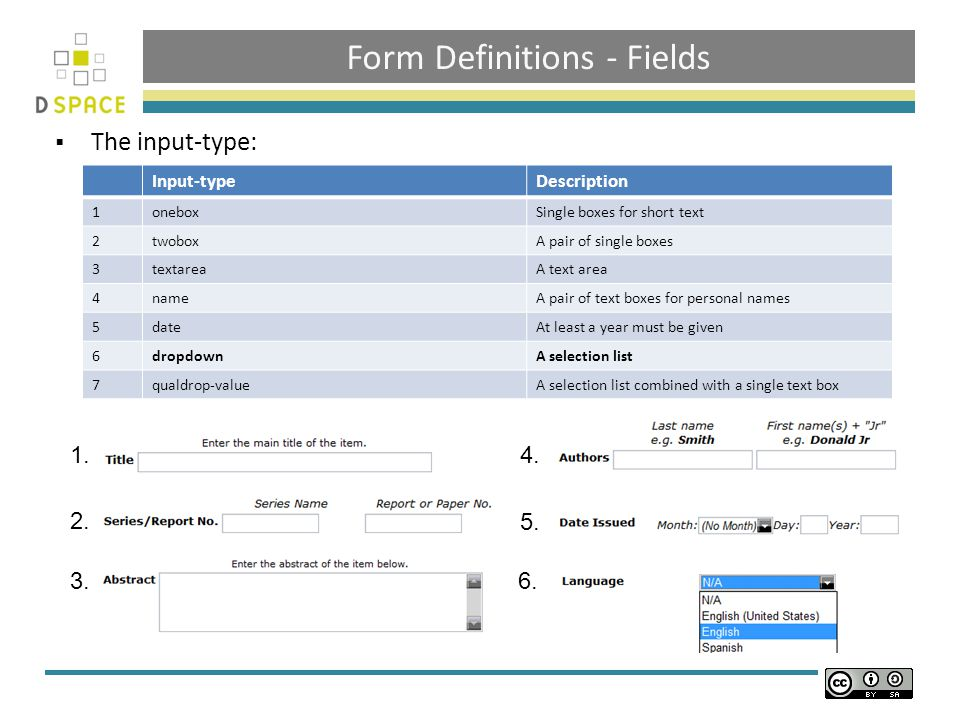 Form Definitions - Fields  The input-type: Input-typeDescription 1oneboxSingle boxes for short text 2twoboxA pair of single boxes 3textareaA text area 4nameA pair of text boxes for personal names 5dateAt least a year must be given 6dropdownA selection list 7qualdrop-valueA selection list combined with a single text box 1.
