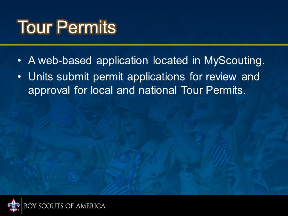 A web-based application located in MyScouting.
